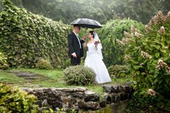 Bride and groom under black umbrella at park Stock Image