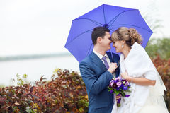 Bride and groom under umbrella Royalty Free Stock Image