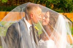 Bride and Groom Under Veil Stock Photo