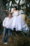 Bride and groom in urban architecture Royalty Free Stock Photography