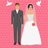 Bride and groom. Vector illustration of a couple standing on the background of flying pigeons. Wedding concept. Bride and groom Royalty Free Stock Images