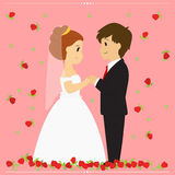 Bride and Groom Vector Illustration Surrounded By Falling Red Roses. Royalty Free Stock Images