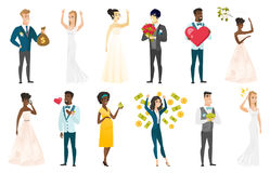 Bride and groom vector illustrations set. Stock Photos