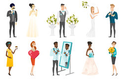 Bride and groom vector illustrations set. Royalty Free Stock Images
