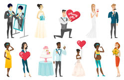 Bride and groom vector illustrations set. Royalty Free Stock Photo