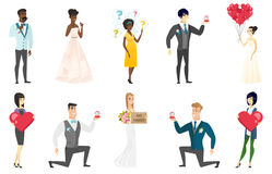 Bride and groom vector illustrations set. Groom, bride and wedding scenes set. Groom kneeling making a marriage proposal, bride showing a plate with text just Stock Photos