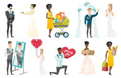 Bride and groom vector illustrations set. Groom, bride and wedding scenes set. Groom looking in the mirror, holding valentine card with text marry me, bride Stock Image