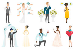 Bride and groom vector illustrations set. Stock Photography