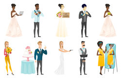 Bride and groom vector illustrations set. Royalty Free Stock Image