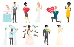 Bride and groom vector illustrations set. Royalty Free Stock Photography