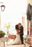Bride and groom in Venice with sea view Stock Photos