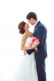 Bride and groom in very bright room at home Stock Photography