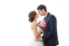 Bride and groom in very bright room at home Royalty Free Stock Photo