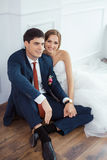 Bride and groom in very bright room Stock Photography