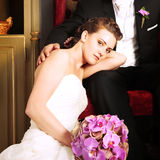 Bride and Groom in vintage interior Royalty Free Stock Image