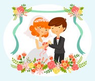 Bride and groom. Vintage style cartoon of bride and groom with floral ornaments Royalty Free Stock Images