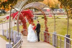 Bride and Groom on walk Stock Image