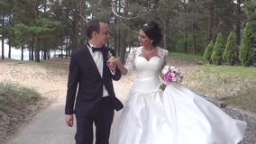 Bride And Groom Walk In The Park stock video footage