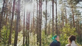 The bride and groom walk in a pine forest, holding hands and looking at each other in the sun. Happy together. Wedding stock video