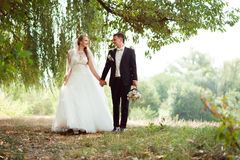 Bride and groom on the walk Royalty Free Stock Photography