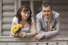 Bride and groom at walk Stock Photos