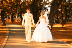 Bride and Groom walking Royalty Free Stock Image