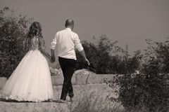 Wedding couple walking, back side. Bride and groom walking on the alley, hand in hand Royalty Free Stock Photography