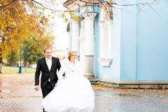 Bride and groom walking in the autumn park Stock Images