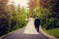 Bride and groom walking away in summer park outdoors Royalty Free Stock Photos