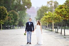 Bride and groom walking holding hands in wedding day Stock Photography