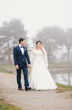 Bride and groom are walking by the lake Royalty Free Stock Image