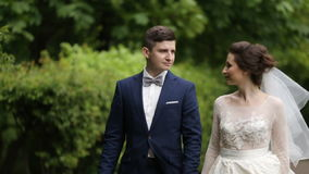 Bride and groom walking in park.  stock footage