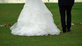 Bride and groom walking in park at the evening. Legs shot stock footage