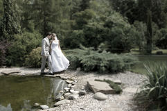 Bride and groom walking in the park Stock Photography