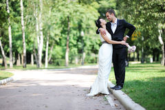 Bride and groom walking in a summer park Royalty Free Stock Images