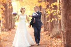 Bride and groom walking in summer park Stock Photo