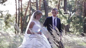 Bride and groom walking at sunset stock footage