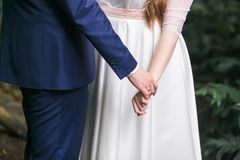 Bride and groom walking together holding their hands. Close-up shot focus on hands. Stock Photography