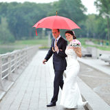 Bride and groom walking together in a rainy day Royalty Free Stock Images