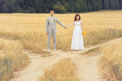Bride and groom walks at nature Royalty Free Stock Images
