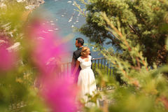 Bride and groom watching the sea Stock Images