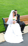 Bride and Groom at Wedding Stock Photo