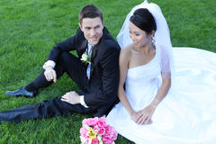 Bride and Groom at Wedding Stock Images