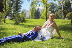 Bride and groom. At wedding royalty free stock images