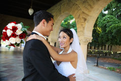 Bride and Groom at Wedding. A beautiful bride and handsome groom at church during wedding Royalty Free Stock Images