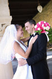 Bride and Groom at Wedding Stock Photography