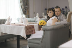Bride and groom at wedding banquet Stock Photography