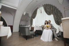 Bride and groom at wedding banquet Royalty Free Stock Photo
