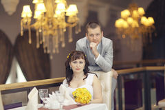 Bride and groom at wedding banquet Royalty Free Stock Photography