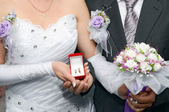 Bride is groom and wedding bouquet Royalty Free Stock Images